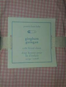 NEW Pottery Barn Kids PINK GINGHAM Crib SHEET toddler bed