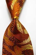 New Classic Floral Yellow Brown Orange JACQUARD WOVEN Silk Men's Tie Necktie