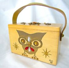 VTG Enid Collins Original Night Owl Box Bag by Collins of Texas Gold Leather