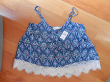 NWT Abercrombie & Fitch  Nicole Lace Cami Fashion Top  Navy Pattern Medium
