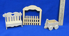 Doll House Miniature Unfinished Wooden Bench Picket Fence And Wagon Lot Of 3