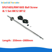 Ball Screw SFU1605 RM1605 250MM-2000mm C7 With End Machined+ BK/BF12 End Support