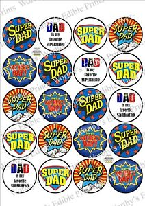 Super Dad Fathers Day x 20 Cupcake Toppers Edible Icing Fairy Cake Toppers (3)