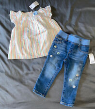 Baby Girl 12-18 Month Baby Gap Multicolor Floral Striped Top & Pull On Jeggings