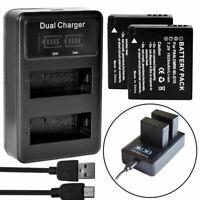 2X Battery +LCD DUAL Charger For Panasonic DMW-BLE9 DMW-BLG10 DMC-ZS60 DMC-ZS100