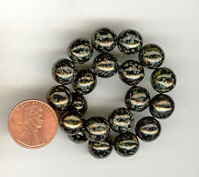 30 Glass Beads Dark Emerald Bronze Picasso 10mm #325E