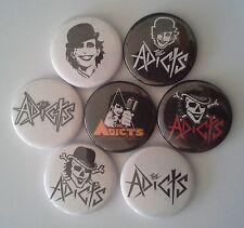 7 The Adicts Pin Badges 25mm punk Junkies A Clockwork Orange Songs of Praise UK