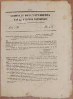 GIORNALE DELL'INTENDENZA SECONDO ABRUZZO ULTERIORE AQUILA SULMONA AVEZZANO 1838