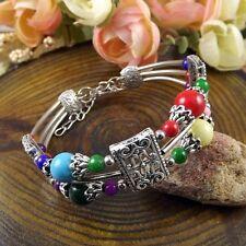 Vintage Tibetan Silver Double layers Beads Bohemian Jade Turquoise bracelets