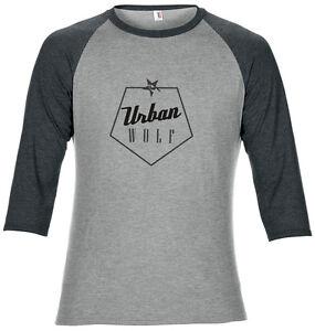 3/4 length sleeve, mountain bike, Urban Wolf t-shirt heather grey - city cyclist
