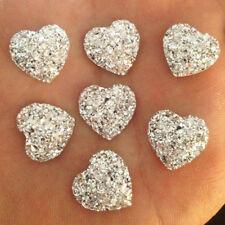 20X Resin Heart Silver Glitter Cabochon Embellishments DIY Craft Decor