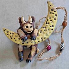 Hanging Cow & Moon Figurine  ~ Whimsical ~ Wild Earth Studios ~ Lila Stuart
