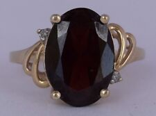 Vintage 14k solid Yellow gold vivid Red Garnet & diamonds fine large unique ring