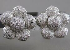 ESTATE 4.80CTW DIAMOND PAVE PUFF FLOWER 18K WHITE GOLD OMEGA CLIP EARRINGS #E468