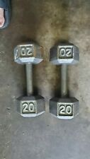 20 Lb Dumbbells Cast Iron Set - Set Of 2 Cap - Hex (40 LB Total)