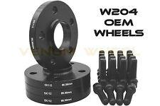 4 Pc Black 12mm Thick Mercedes Benz W204 Hub Centric Wheel Spacers 14x1.5 Ball