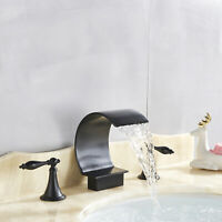 Widespread Bathroom Basin Faucet Waterfall Sink  Mixer Tap Oil Rubbed Bronze