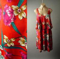 Tropical Island Floral Print Flounce Ruffle Swing Sun 283 mv Dress 1XL 2XL 3XL