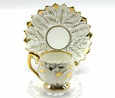 Antique Dresden Hirsch White Gold Leaf Demitasse Tea Cup & Saucer Germany
