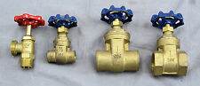 "Lot of 4 Solid brass Gate valves 1""  1/2"" Solder & Threaded Hose Bib"