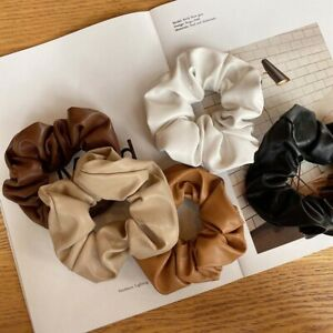 Autumn Winter Leather Big Elastic Hair Bands Scrunchies Solid Color Headbands/