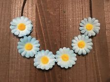 Handmade Blue Daisy Flower Headband Boho Festival Rave Crown Halo Bridal