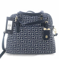 Tommy Hilfiger Julia Monogram Jacquard Dome Small Satchel NEW OSFA BLUE