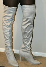 Gray, Over-the-Knee, Faux Suede High Heel Boots, Size 17 (EU 48)