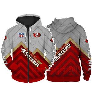 San Francisco 49ers Hoodie Fan's Hooded Zipper Sweatshirt Casual Jacket Coat
