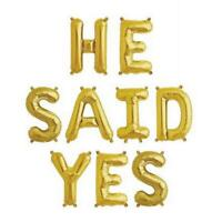 """16""""/ 40cm Gold 'HE SAID YES' Foil Balloon Banner"""