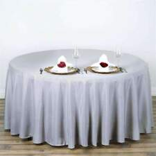 """Silver 108"""" Seamless Polyester Round Tablecloth ~NEW~ Wedding Party Banquet"""