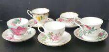 Lot of Vintage Teacups & Saucers Mismatched sets ( 10 pieces ) Antique English