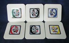 Kabuki Mask Face Graphic White Coasters A Set of Six GUC In Original Box
