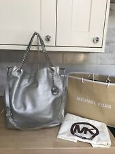 GENUINE SILVER MICHAEL KORS JET SET CHAIN BAG SLOUCH SHOULDER TOTE LEATHER