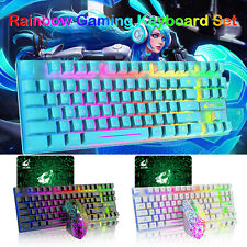 More details for wireless gaming keyboard and mouse rainbow led 87 key for pc mac laptop ps4 xbox