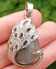 Labradorite stone bead Energy Reiki Healing Amulet Peacock Pendant