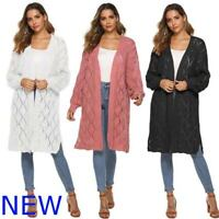 Loose Knit Womens Knitwear Coat Sweater Cardigan Long Knitted Jacket Casual