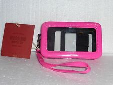 New Pink I phone 4/4s wallet case Faux Patent Leather w removable wrist strap