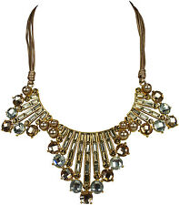 Fashion Halskette mit Wimpel Anhänger Statement Gold Platin Crystal necklace