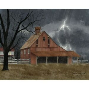 New Primitive Billy Jacobs DARK AND STORMY NIGHT BARN Wall Hanging Picture