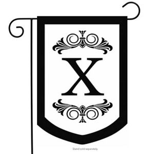 "Letter X Regalia Monogram Garden Flag Embroidered Double Sided 12.5"" x 18"""