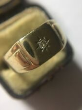 Antique Heavy Extra Large Central  Diamond Yellow Gold Signet Ring Hallmarked