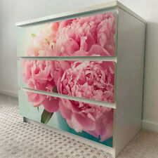 IKEA 3 DRAWERS MALM Pink Rose Flower Removable Textile Sticker for furniture