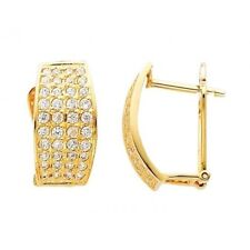 Curved Oval Shape Round Simulated Diamonds Huggie Hoop 14k Yellow Gold Earrings