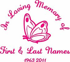 In Loving Memory Pretty Butterfly Custom Vinyl Decal Sticker Car Truck Window