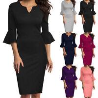 Women 3/4 Sleeve V-Neck Flounce Bell Sleeve Office Work Casual Pencil Mini Dress