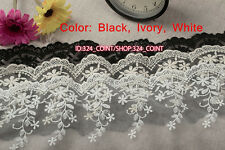 HB35 1yard Embroidered Tulle lace trim Ribbon for dress veil Sewing crafts