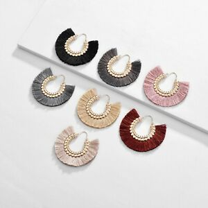 Circle Sharp Tassel Dangle Earrings Kpop Korean Drop Earring for Women Jewelry