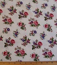 Lucys Collection sm Roses Fabric 1yd Civil War Reproduction Red Rooster