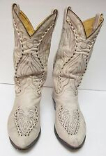 Men's Whip Stitch Hand Crafted Cowboy Boots Distressed Ivory Size 9.5 VINTAGE